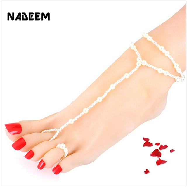 d85e1ca7578 Hot Fashion Women Ankle Bracelet Beach Imitation Pearl Barefoot Sandal  Tornozeleira Femininas Foot Jewelry Anklet Chain