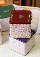 Rustic Small Large Square Tin Storage Box Storage Tank Tea Caddy Pen