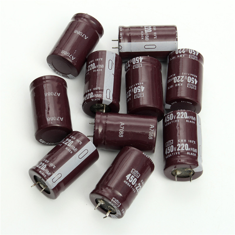 2017 New 10pcs/lot 450V 220UF Electrolytic Capacitors 220UF 450V 25*40mm Filter Capacitor Electronic Components & Supplies