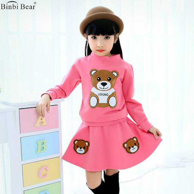 Girl Spring And Autumn Suit 2017 New Bear Korean Version Of Fashion Children's Dress Skirt Little Girl Sports Skirt Two-piece textiles and dress of gujarat