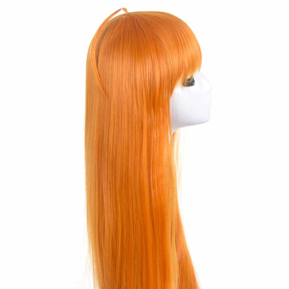 Аниме Persona 5 косплей парик Futaba Sakura Косплей парик длинные прямые оранжевые волосы парик Хэллоуин Карнавал вечерние парик