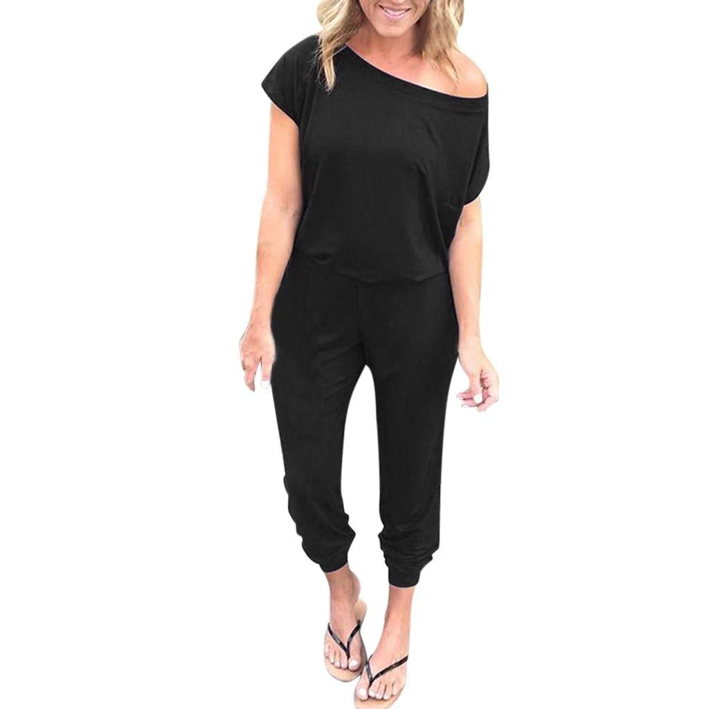 Summer Women Jumpsuit Pocket Off Shoulder Short Sleeve Rompers Jumpsuit Long Playsuit Romper Women 2019 Revlon Pro Collection Salon One-Step Hair Dryer and Volumizer