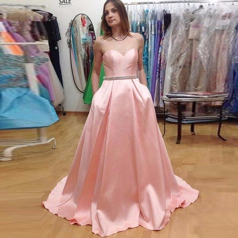 Luz de color rosa baile vestidos largos a line vestido de festa ...