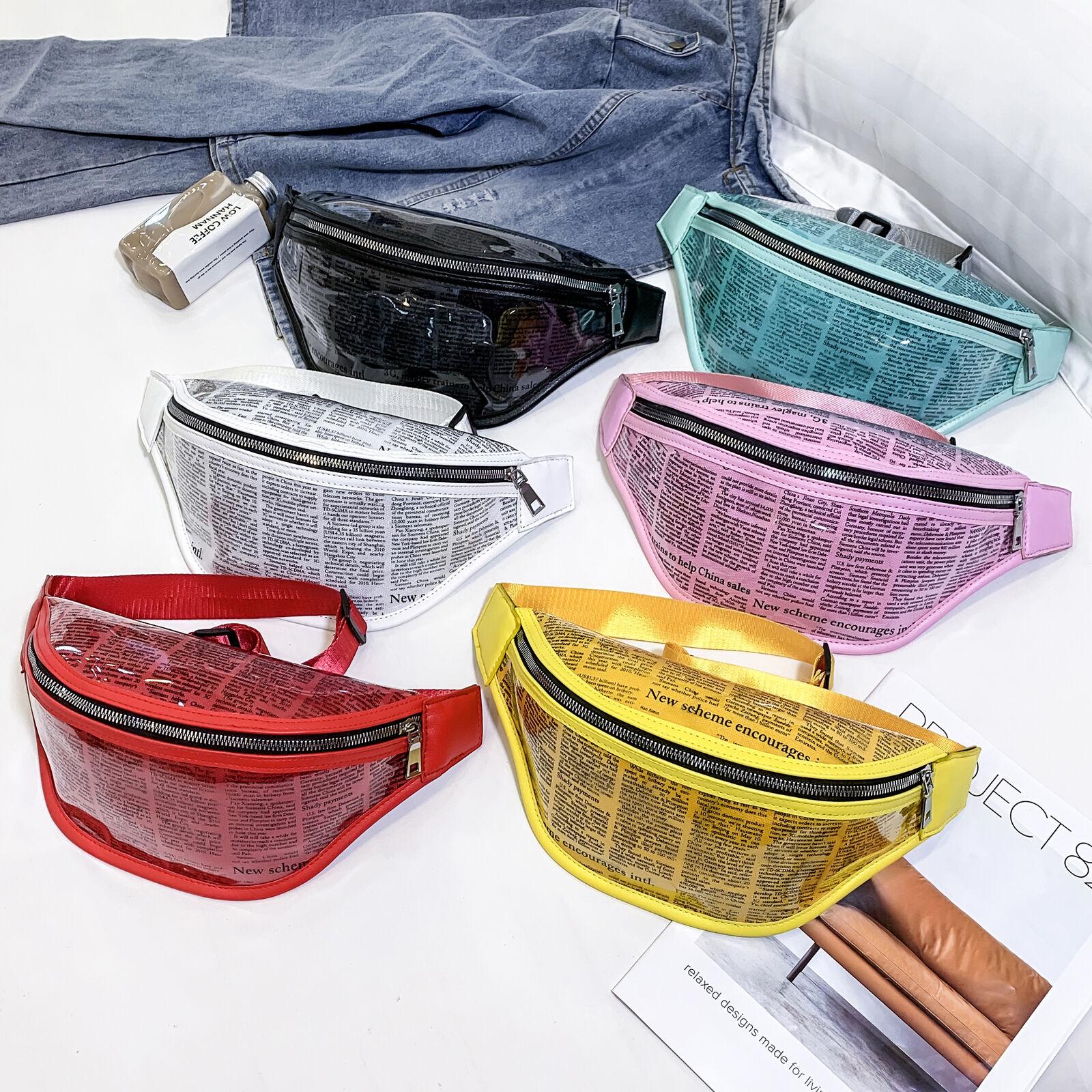 2019 New Women Waist Bags Pu Leather Fanny Pack Belt Bag Newspaper Print Waist Pouch Shoulder Chest Bags Bum Bag