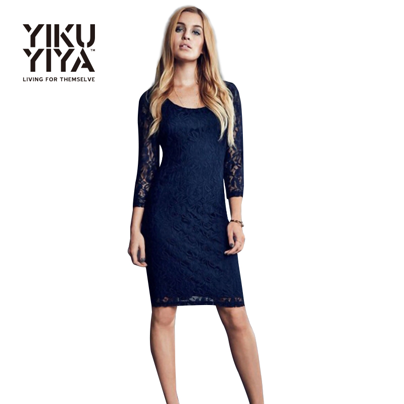 YIKUYIYA Elegant Solid Navy Blue Mid ace Dress Women ...