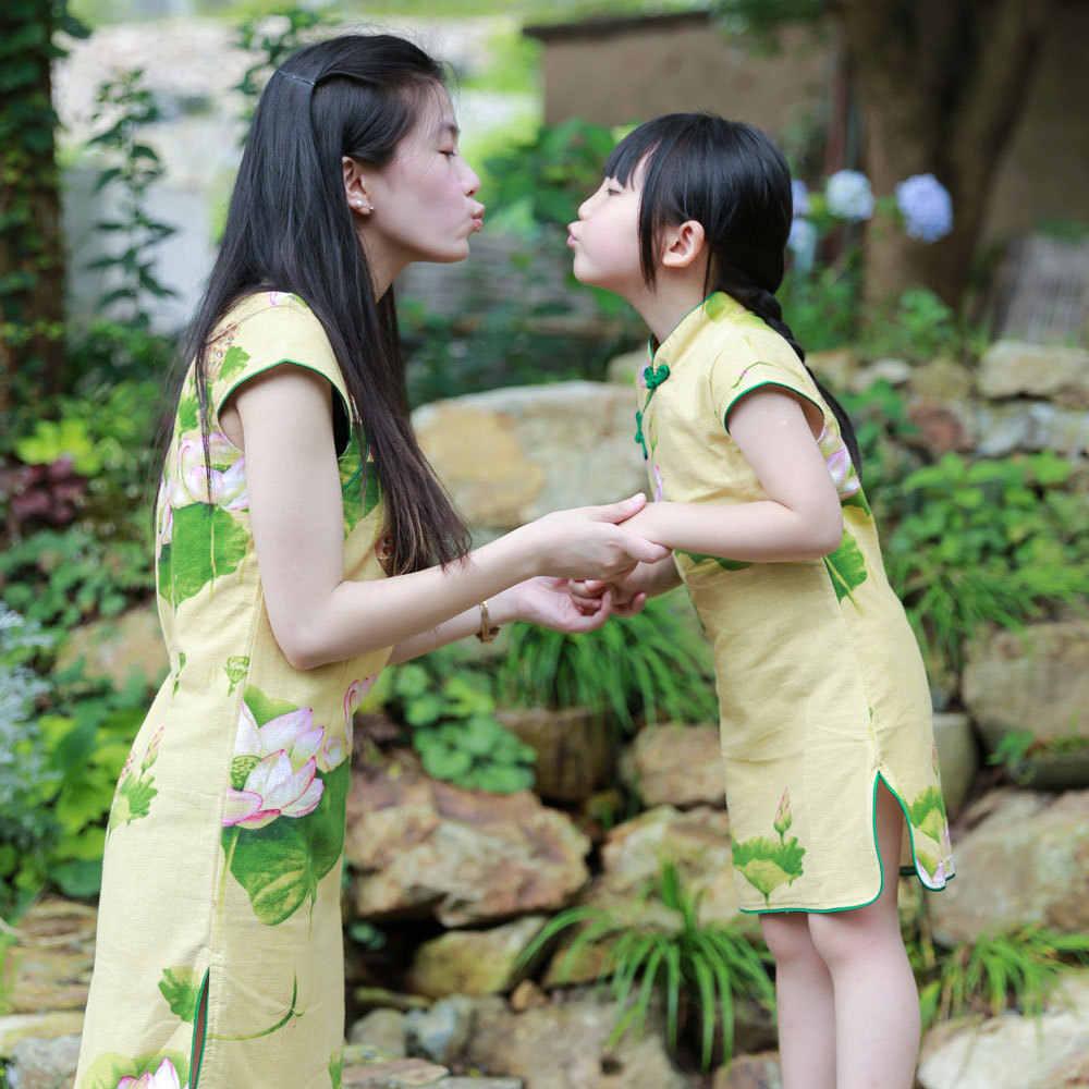Маленький наряд для родителей и ребенка новое летнее платье в национальном стиле