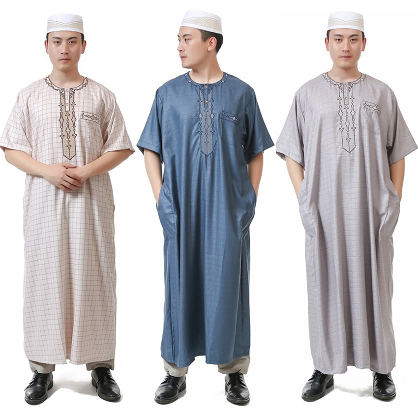 275f8cbb1890 New Summer Islamic Clothing for Men Muslim Thobe Short Sleeve Arabic Abaya  Kaftan Robes Man Dubai Eid Jubba Thobe Islam Clothes