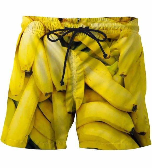 Summer Men Beach Shorts bananas yellow 3D Print
