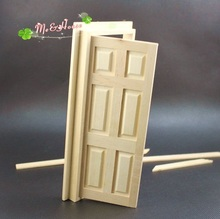 Mini dollhouse Mini furniture model white diy plain solid wood doors with lines
