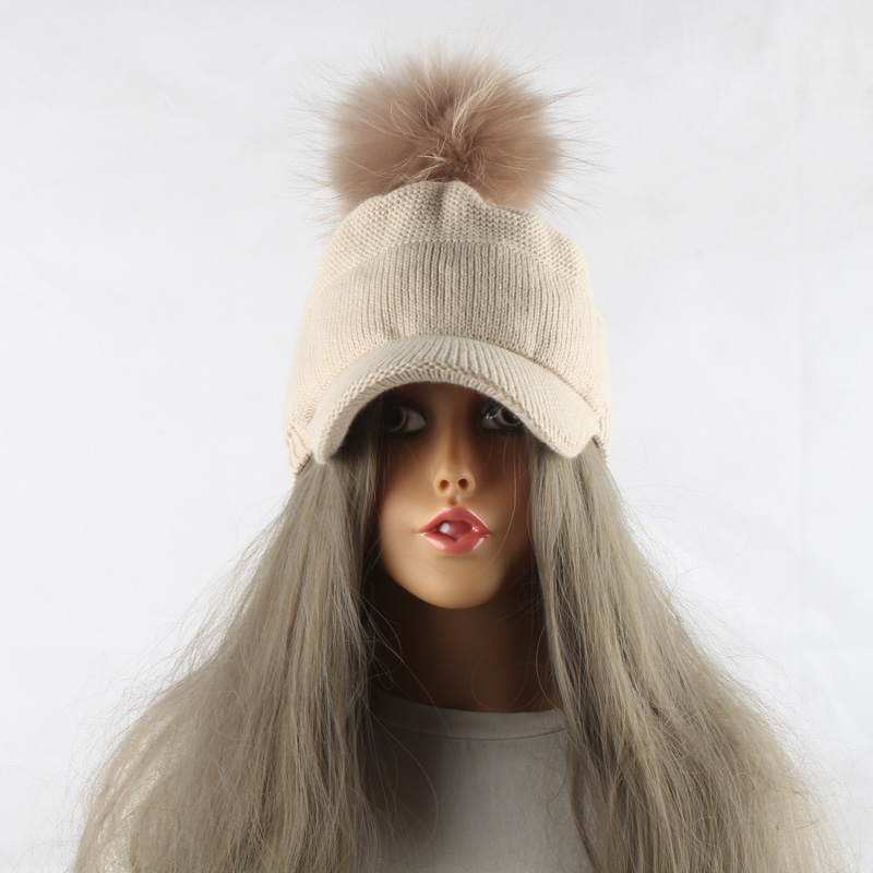 FURANDOWN 17 New Real Fur Pom pom Cap For Women Spring Autumn Baseball Cap With Raccoon Fur pompoms Brand Snapback Caps 7