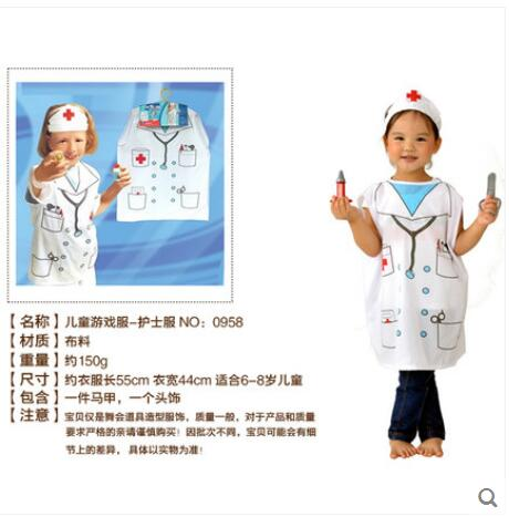 Free shipping, Children halloween party dress up costume,outfit nurse costume clothes for kid .hat and clothing