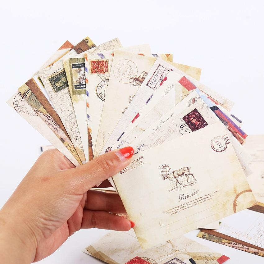 12 PCS/set Mini Retro Vintage Kraft Paper Envelopes Cute Cartoon Kawaii Paper Korean Stationery Gift