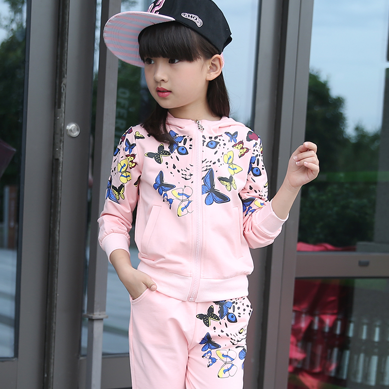 2016 Autumn Baby Girls Clothes Jacket Floral Kids Hoodies+Pants Kids Tracksuit For Girls Clothing Sets Girls Sport Suit