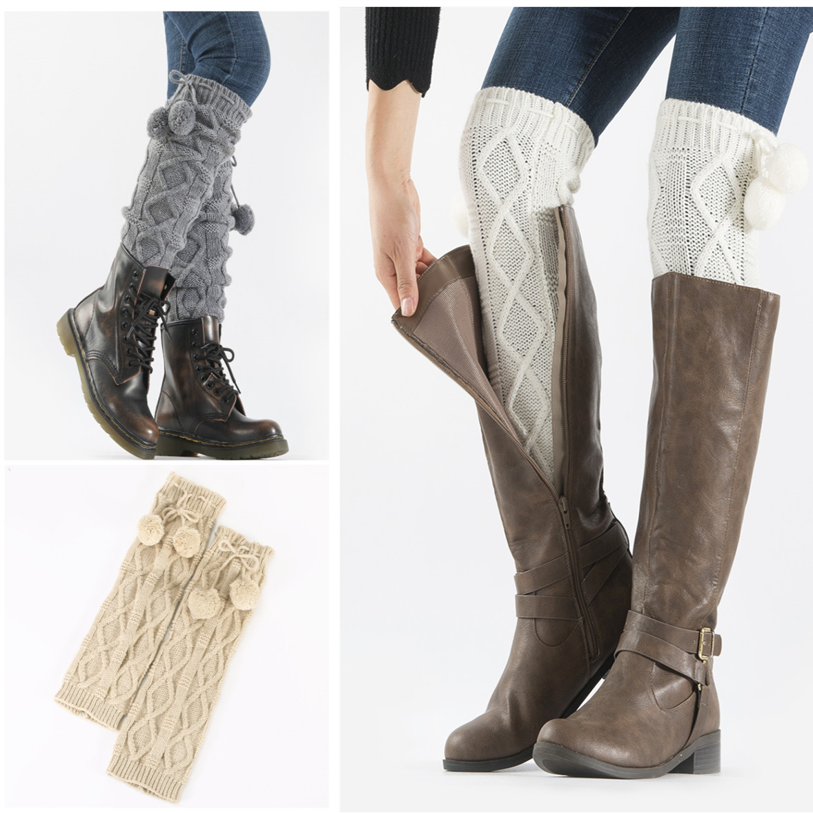 Fashion New Knitted Jacquard Diamond Hanging Ball Socks Set Female Students Autumn And Winter Pile Wool Leg Boots Set