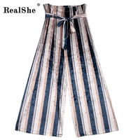 RealShe Autumn Women S Casual Loose Fit Bow Tie Striped Print Women Trousers High Waist Slim