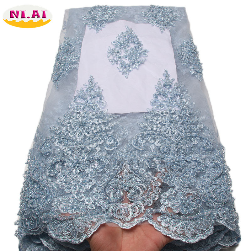 African Lace Fabric 2018 High Quality Lace Embroidery Fabric 5Y Power Blue Tulle Lace Fabric For