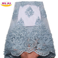 African Lace Fabric 2018 High Quality Lace Embroidery Fabric 5Y Power Blue Tulle Lace Fabric For Lace Evening Dresses 1331b