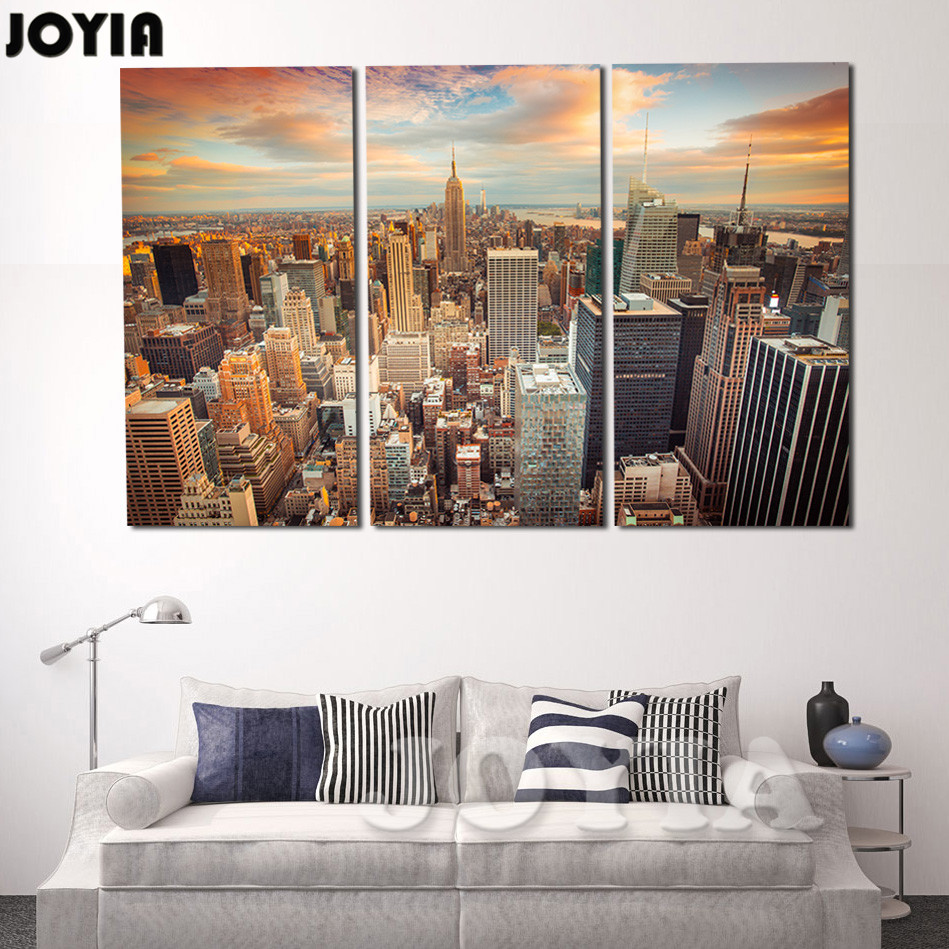 Large Framed Wall Art New York City Landscape Sunset: Aliexpress.com : Buy Large Modern City Wall Painting New