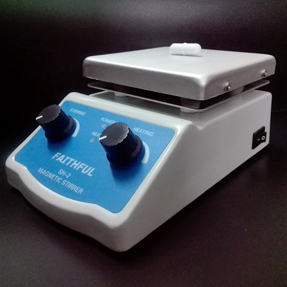 Wholesale 1~ 4pcs Magnetic Stirrer with heating plate hotplate mixer ,220V/110V, with Magnetic stir bars free shipping ptfe stir rod for overhead stirrer