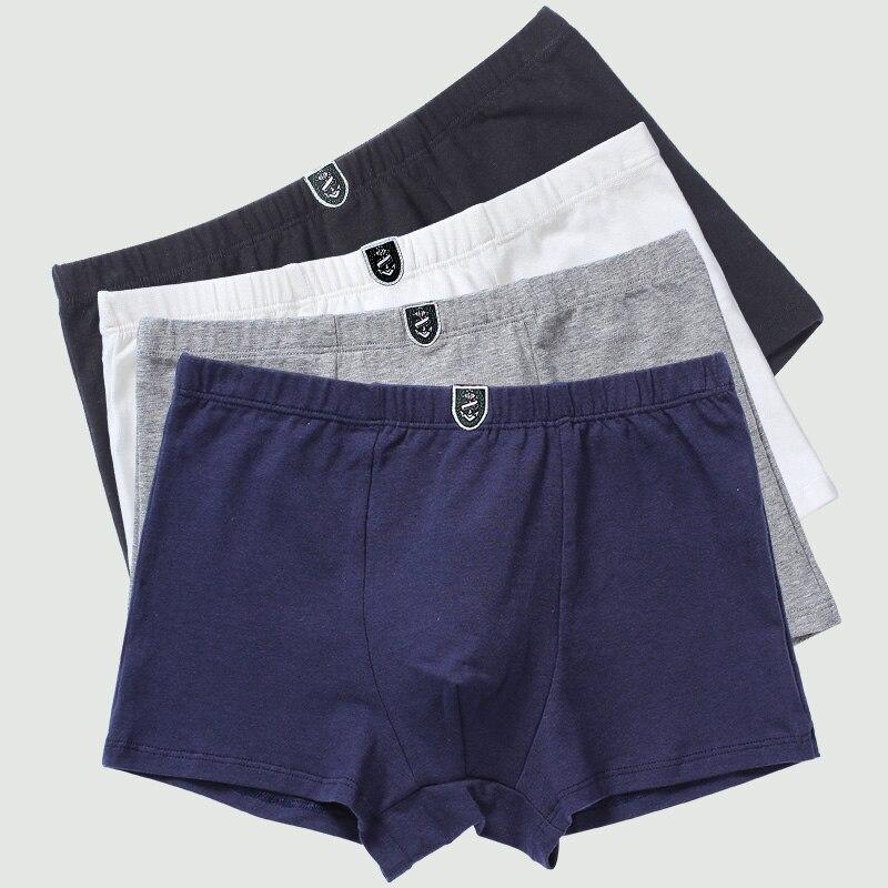4pcs/lot Pure Color Boy Underwear Pants Organic Cotton Underpants For Teenage Children Shorts Panties Soft Baby Boy Clothes