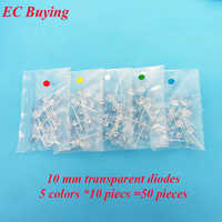 10mm Red Blue White Yellow Emerald-Green LED Round Transparent Ultra Bright Lamp Bead Plug-in DIY Kit Assorted Kit 50 pcs