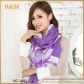 2016 Scarf Women purple and white color scarves flower printing Scarf acrylic Oversized Wrap Shawl