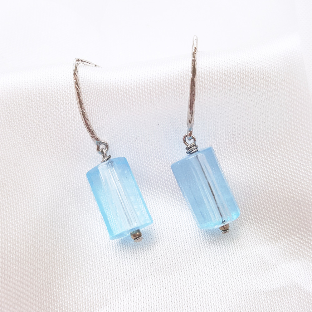 Lii Ji Natural Blue Topaz beads  925 Sterling Silver Drop Earrings