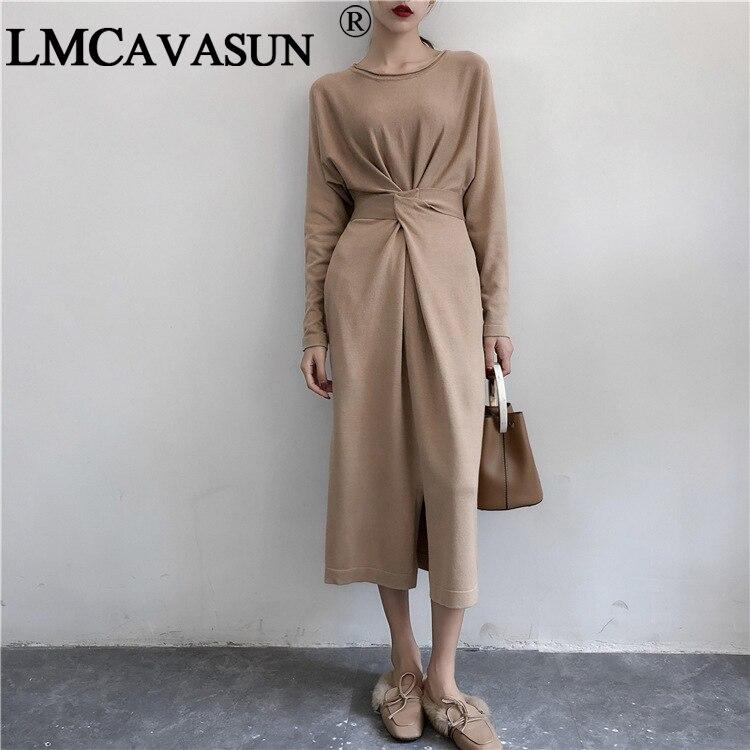 Платье LMCAVASUN женское, Осеннее, длинное, с длинным рукавом и поясом