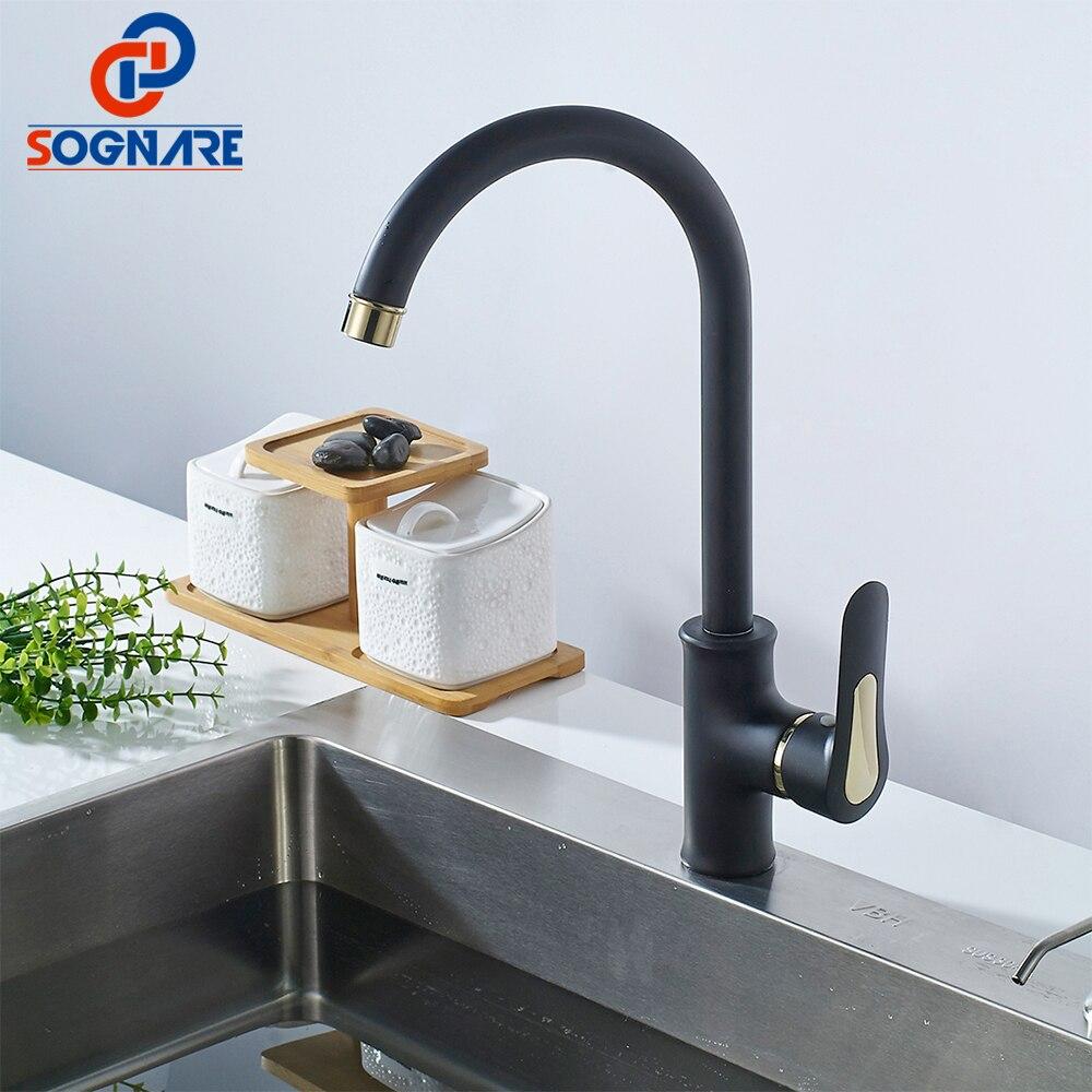 Sognare Black Kitchen Faucet Mixer Deck Mounted Brass