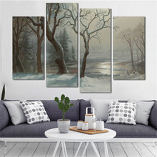 4 Pcs Classic Oil Painting Vintage Countryside Landscape Wall Art On Canvas