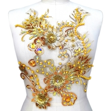 AAA Rhinestones Sequins Beads Embroidered Yellow 3D Lace Applique Crystals Patches Dress Accessory Sewing for Evening Prom Dress