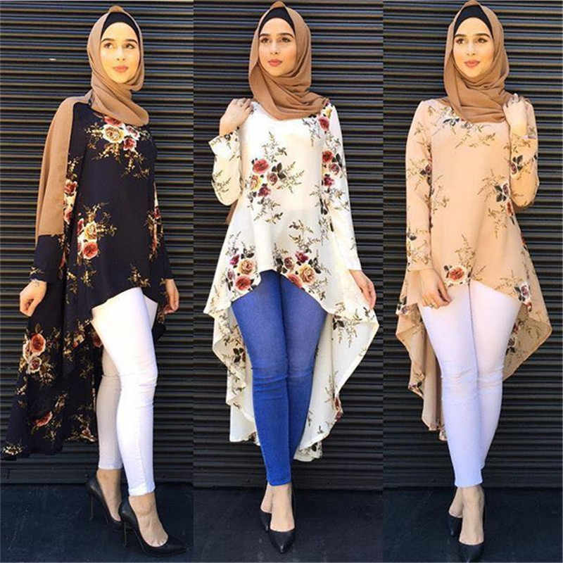 2017 Fashion Muslim clothing long sleeve print shirts blouse for women Loose Blouse Hem Tops D309