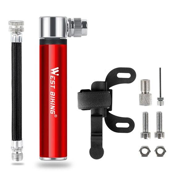 WEST BIKING, мини велосипедный насос, велосипедный ручной воздушный насос для велосипеда, шиномонтажный насос для AV/FV MTB, горный велосипедный насос - Цвет: Red