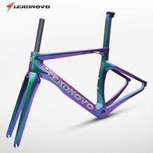 LEADNOVO carbone route vélo cadre freins à disque Di2 mécanique 3 K 1 K en fiber de carbone route cyclisme course vélo frameset taiwan vélo