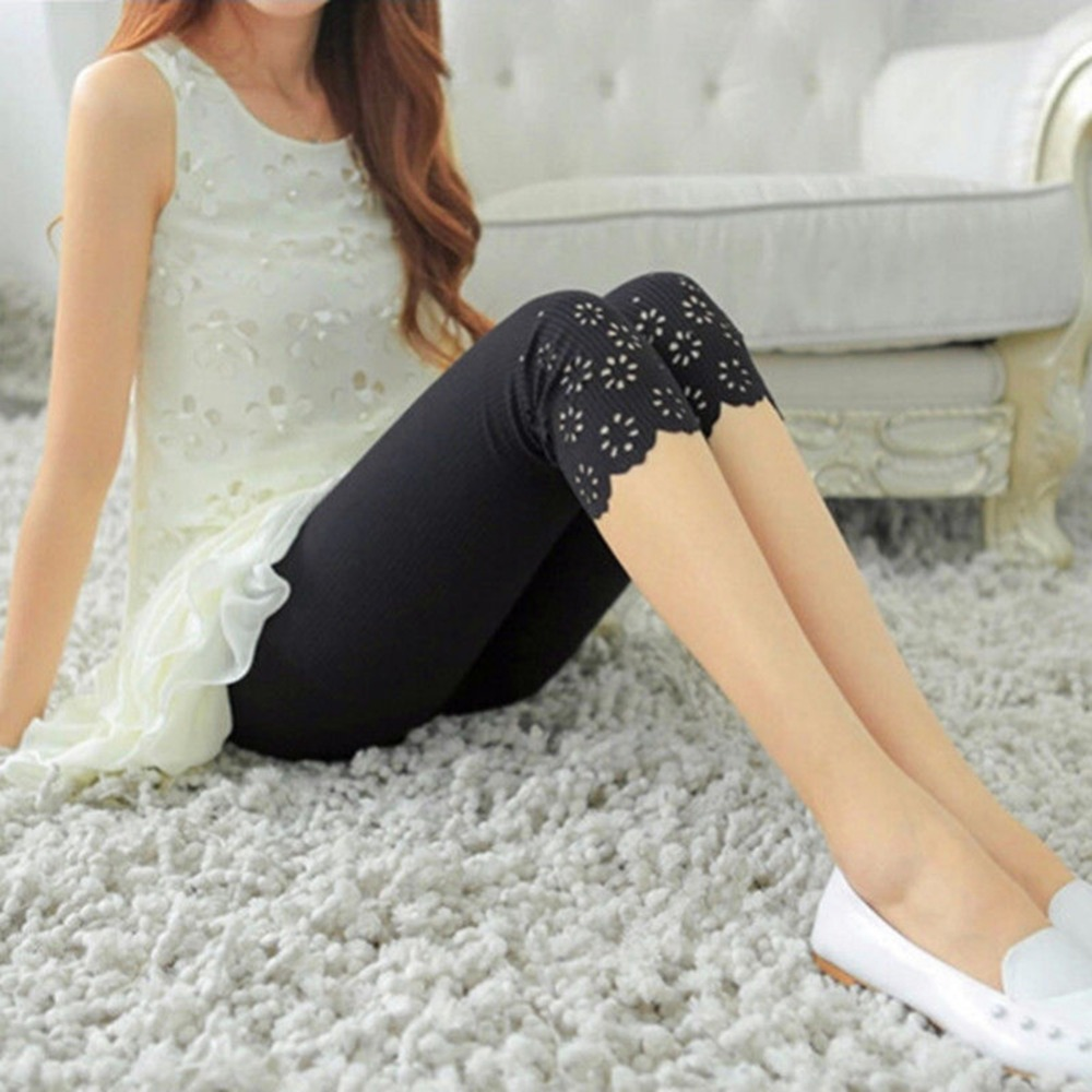 New Arrival Calf Length Ladies Thin Fitness Leggings Hollow Out Women Femme Leggings Capris Stretch Fashion Legging Woman Pants