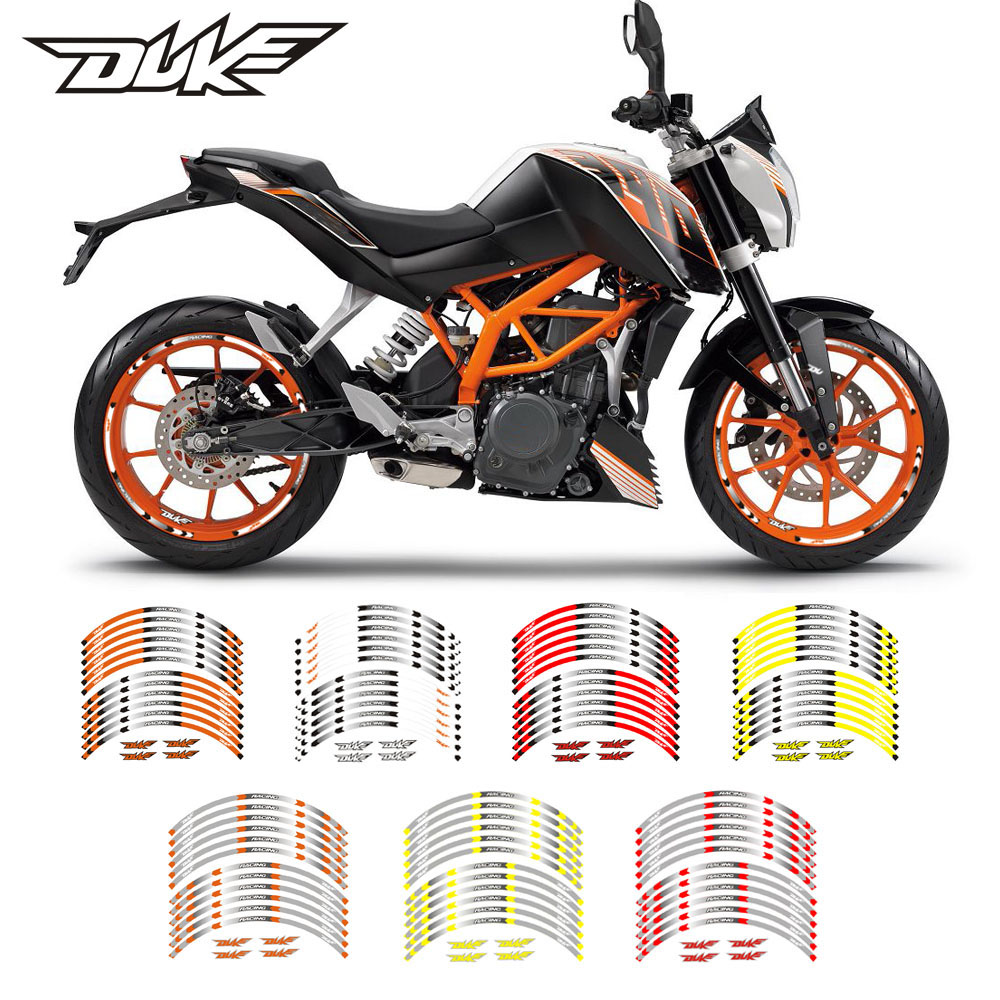 High quality Motorcycle Rim stripes Decals 17inch Wheel <font><b>Sticker</b></font> Reflective Tape For KTM <font><b>DUKE</b></font> 200 390 690 990 Reflective <font><b>sticker</b></font> image