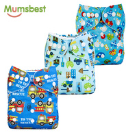 Mumsbest 3PCS Washable Waterproof Baby Nappy PUL Suit 3 15kgs Adjustable Boy Diaper Covers Car