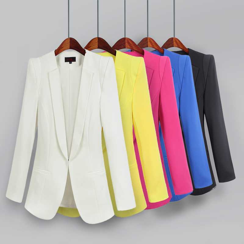 2019 Korean Small Suit Jacket Women Autumn Spring New Long Sleeve Hidden Breasted Work Blazer Suit 3XL 4XL 5XL Plus Size(China)
