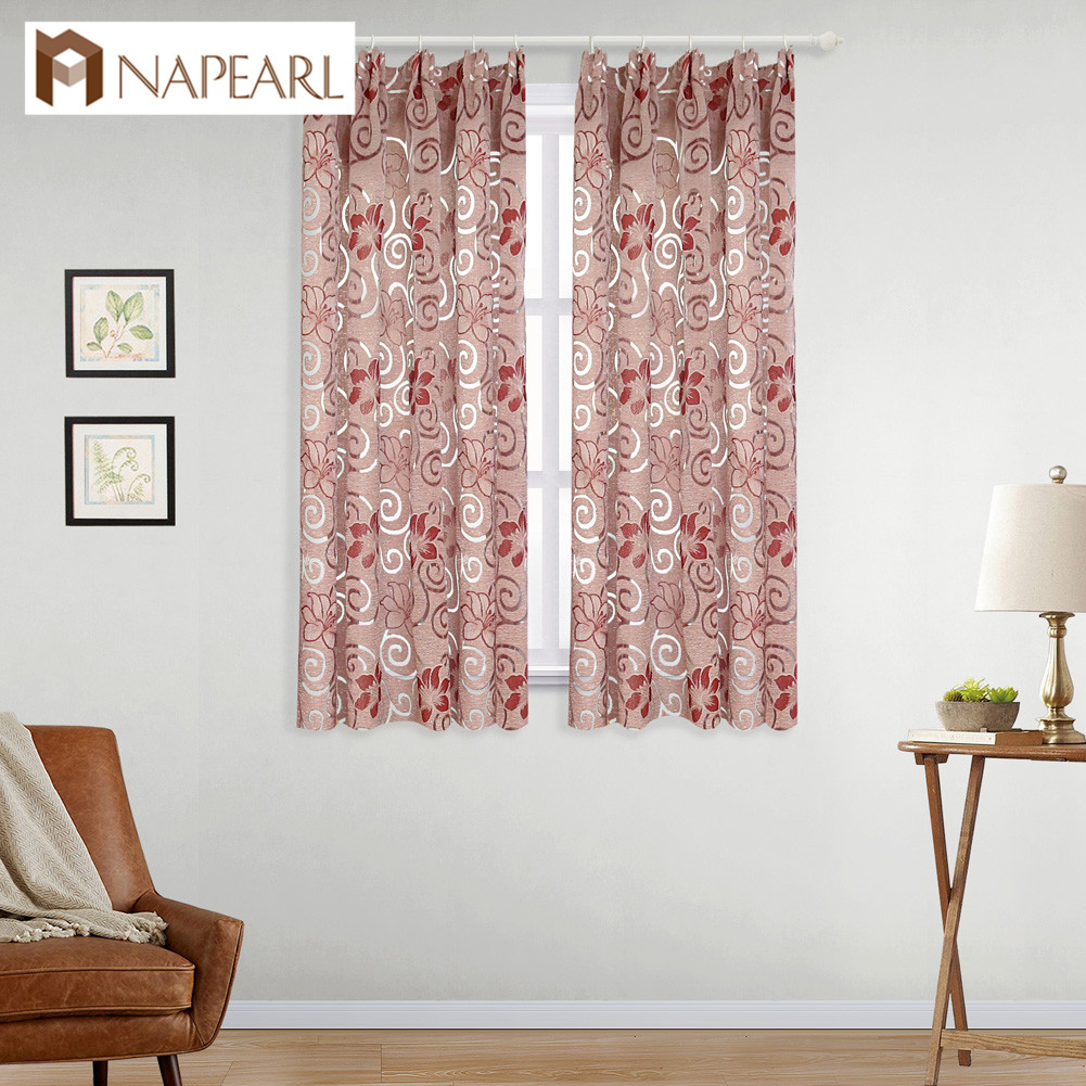NAPEARL 1 Piece Short Curtain Floral Double Jacquard Modern Drop For Kitchen Living Room Window Elegant Panel Thread Fabric Tape