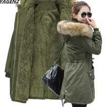 New 2017 Winter Coat Women Slim Plus Size 4XL Outwear Medium-Long Hooded Jacket Thick Lambs wool Cotton Coat & Parkas YAGENZ 519