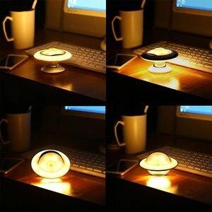 Image 3 - Capteur de mouvement veilleuse enfants 360 degrés lampe rotative avec capteur de mouvement UFO forme lampe LED à piles veilleuse