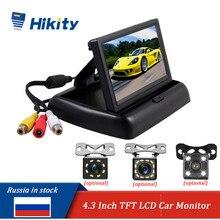 Hikity 4.3 calowy składany monitor do samochodu wyświetlacz tft lcd kamery kamera cofania system parkowania na wyświetlacz tyłu samochodu monitory/kamera