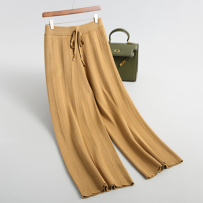 Women solid color knit   pants   casual   wide     leg     pants