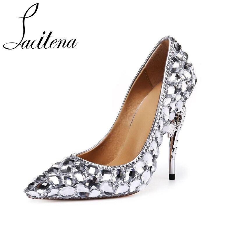 Diamante Boda Fiesta Alto Tacón Cristal De Mujer Zapatos Plata 0wqSBOE 5d5315595932