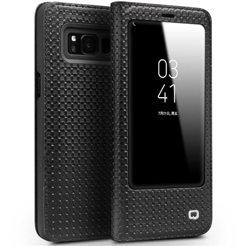 QIALINO Genuine cowhide Flip Bag <font><b>sleep</b></font> wake function for Samsung S8 Plus Flip Wallet Ultra Thin Cover for Samsung S8 Plus