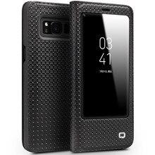 Qialino натуральной коровьей Флип сумка функции сна разбудить для Samsung S8 плюс флип бумажник ультра тонкий чехол для Samsung S8 плюс