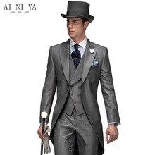 d82f72147f549 Новый дизайн утренний стиль пиковые лацканы жениха смокинги Женихи мужские  свадебные костюмы на заказ (пальто