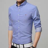Casual Solid Color Light Blue Pink Grey Men S Shirt Turn Down Collar Single Breasted Cotton