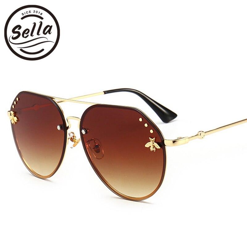 Sella 2018 nueva moda clásica mujer hombres de gran tamaño gafas de sol piloto marca diseñador espejo revestimiento abejas decoración de uñas sol cristal
