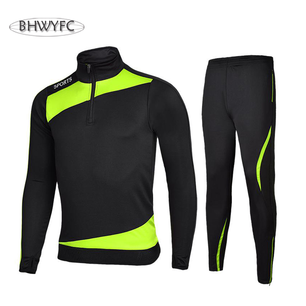 BHWYFC Winter 2017 Long Sleeves Soccer Jerseys Men Kids Football Tracksuits Men Set Training Suit Survetement